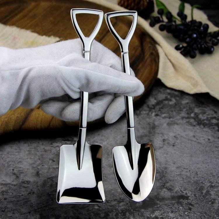 不锈钢铁掀勺子铁锹勺子创意家用餐厅方形厨房网红西瓜勺个性复古