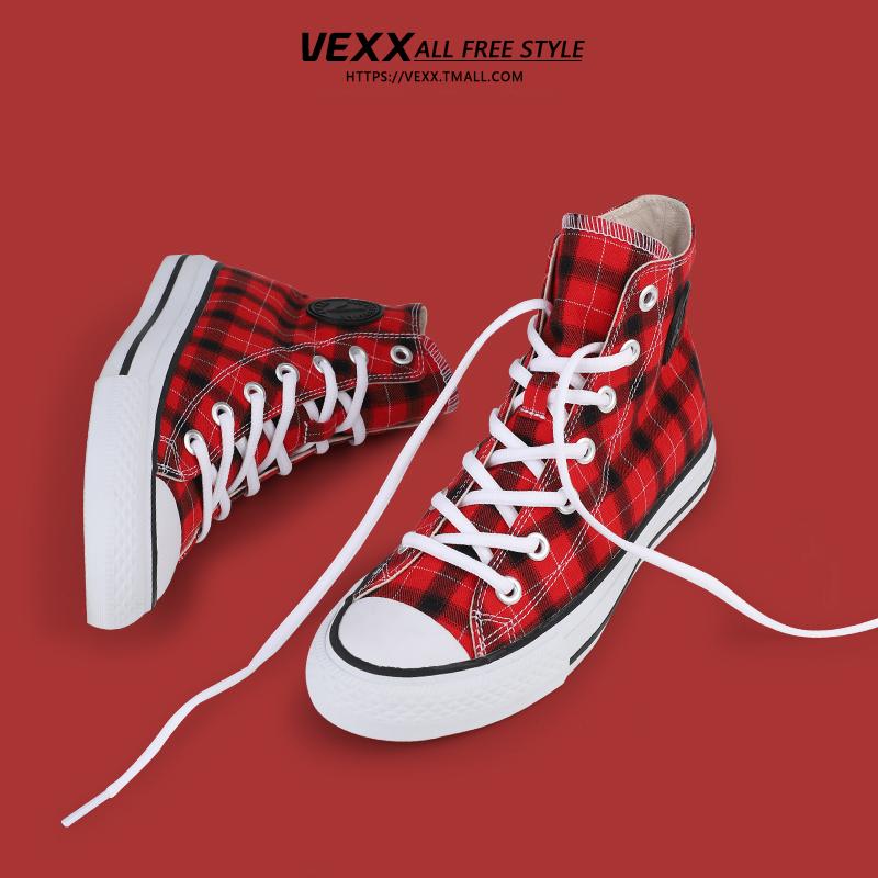vexx高帮帆布鞋女2019春夏季新款学生小白鞋百搭板鞋高邦鞋子潮