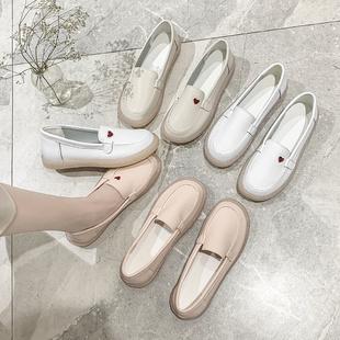 小白鞋女2020春新款软底透气平底豆豆鞋舒适防滑百搭不累脚护士鞋图片