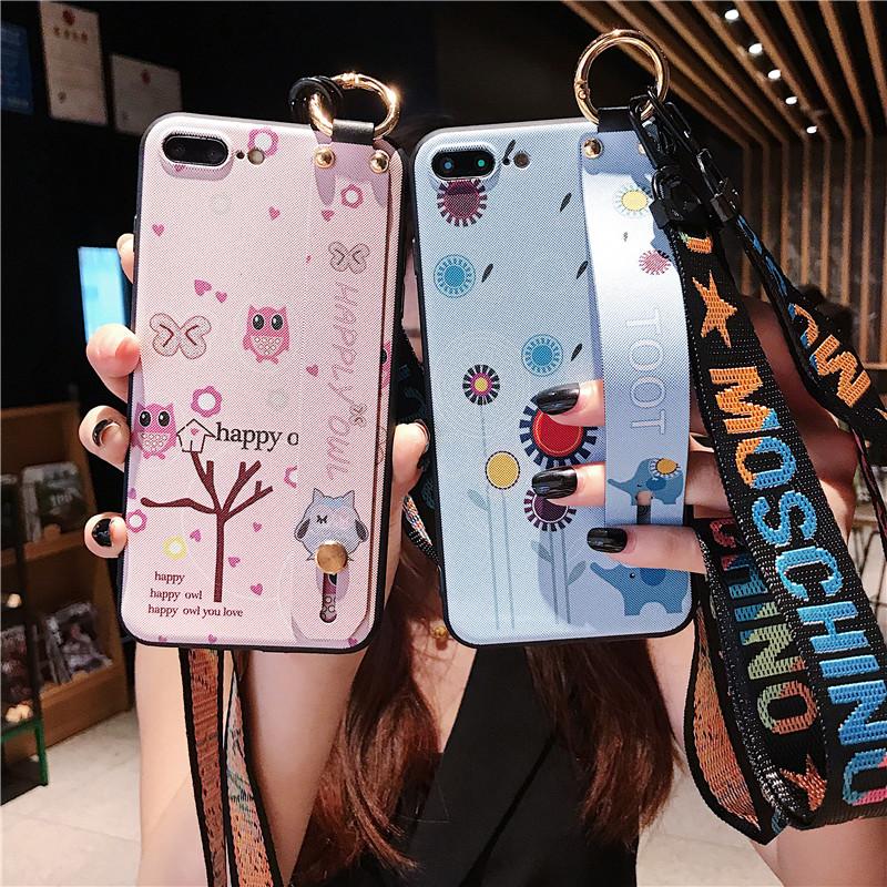 苹果8手机壳挂绳女iphone7plus软壳卡通6s硅胶保护套创意腕带防摔