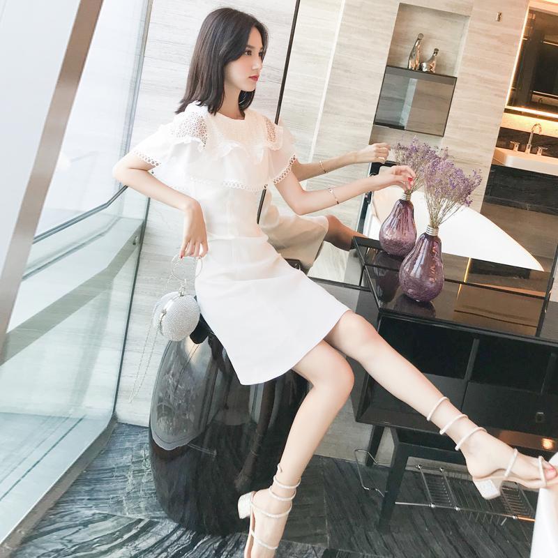 白色连衣裙女夏季2020年新款韩版蕾丝披肩显瘦短袖中长款a字裙子