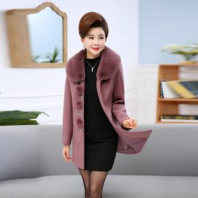 中老年女冬装呢子大衣妈妈装时尚毛呢外套