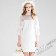 16春装新款lq3白色进口xc袖甜美气质公主裙 连衣裙 品牌女装