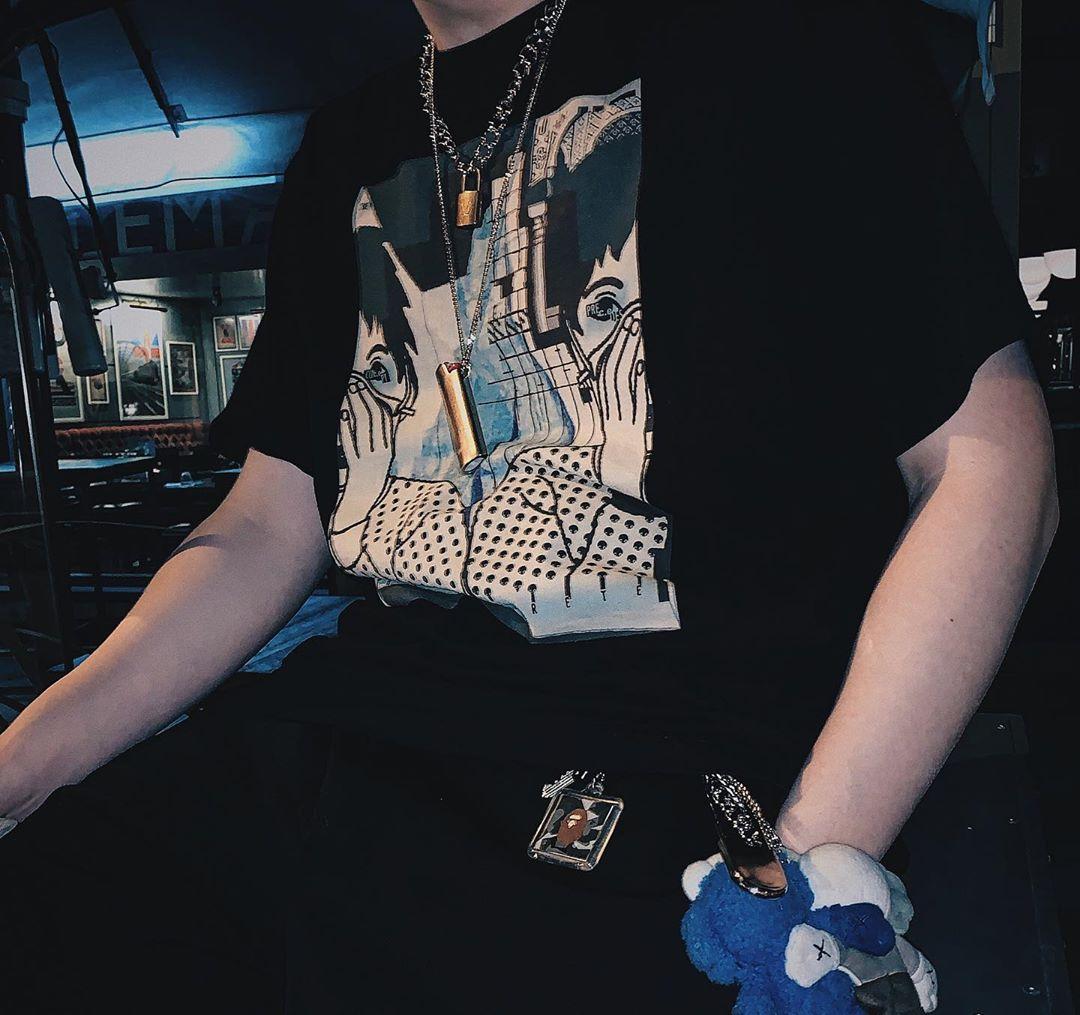 日潮CAVEMPT C.E MD COMCRETE 捂脸宽松纯棉圆领短袖T恤男女ISN风