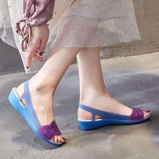 2020夏季新款凉鞋女旗袍沙滩鞋洞洞防滑软底妈妈坡跟塑料果冻凉鞋