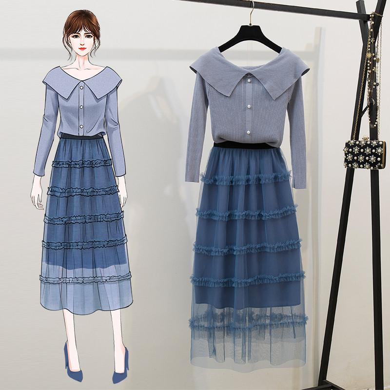 2020很仙的早春针织衫网红高冷御姐风网纱裙套装法式长裙两件套