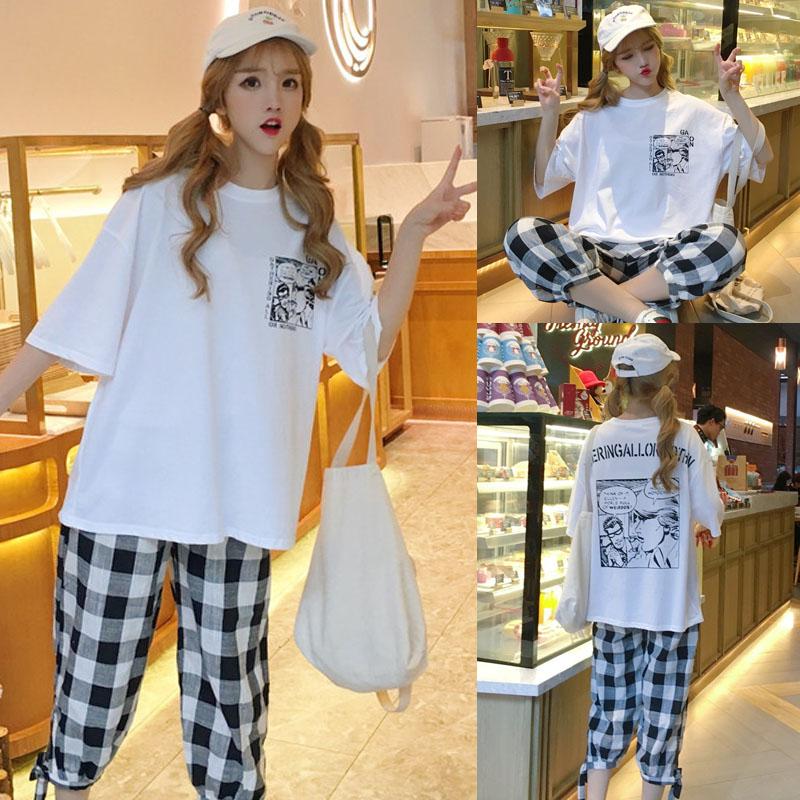 2019夏季女装韩版时尚宽松学生卡通印花格子网红套装两件套女 夏