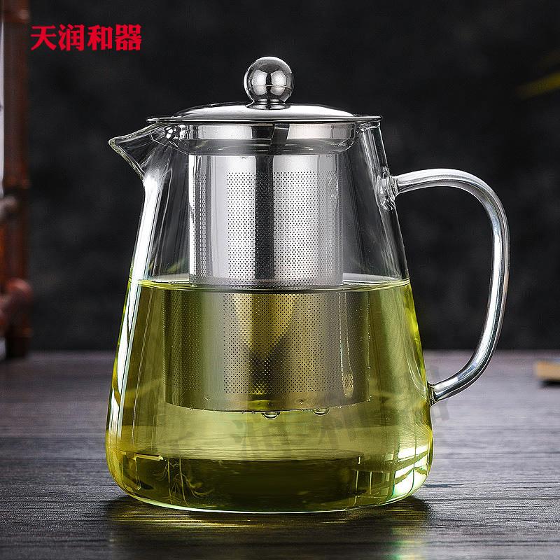 天润和器防爆裂耐热玻璃不锈钢过滤花茶壶功夫红茶泡茶杯包邮