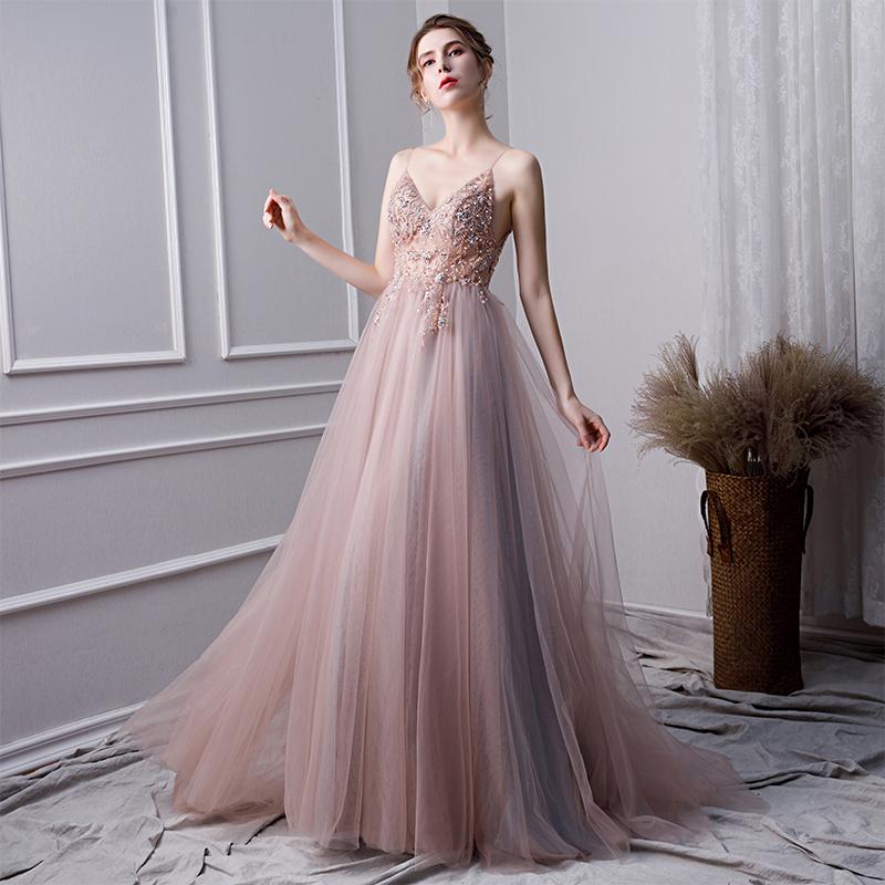 点击查看商品:NYS 年会晚礼服冬季新款超重工性感主持人长裙典雅高贵宴会迎宾服