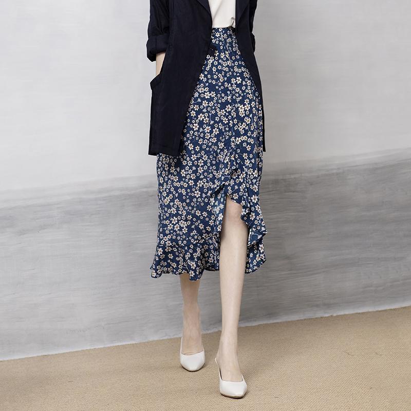 ^@^戎美【QZ0410457】法式碎花半裙实力在线 欧洲花稿 真丝半裙