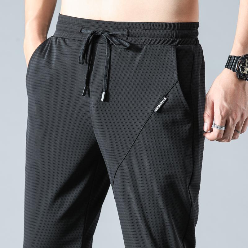 男士运动裤夏季薄款冰丝裤子男宽松网眼裤空调透气休闲长裤速干裤