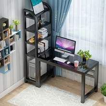 电脑桌台款家用学生书桌子带书架ji12室经济qi组合桌