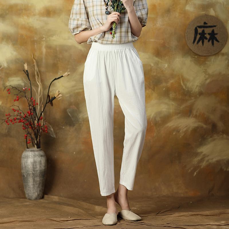 棉麻裤子女夏季高腰裤宽松九分哈伦裤小脚女裤新款2021棉麻女装薄
