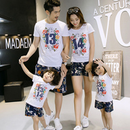 Parents loaded summer 2017 new cotton short-sleeved T-shirt a family of three mothers mother and daughter family equipment