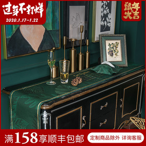 Nordic table flag light luxury American table flag modern minimalist bed flag bed tail towel TV cabinet shoe cabinet table cloth green
