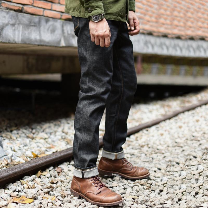 沾酱 黑色 310XX-S拉链牛仔裤 男士修身窄脚  丹宁小脚原牛赤耳