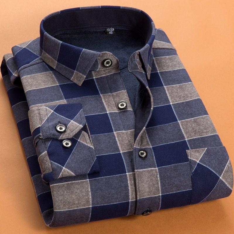 秋冬季加绒加厚商务男士保暖衬衫长袖韩版修身衬衣潮流正装寸衫