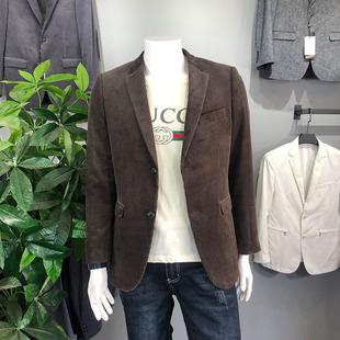 秋冬季英式复古灯芯绒西装男补丁修身休闲西服男上衣单件加厚外套图片