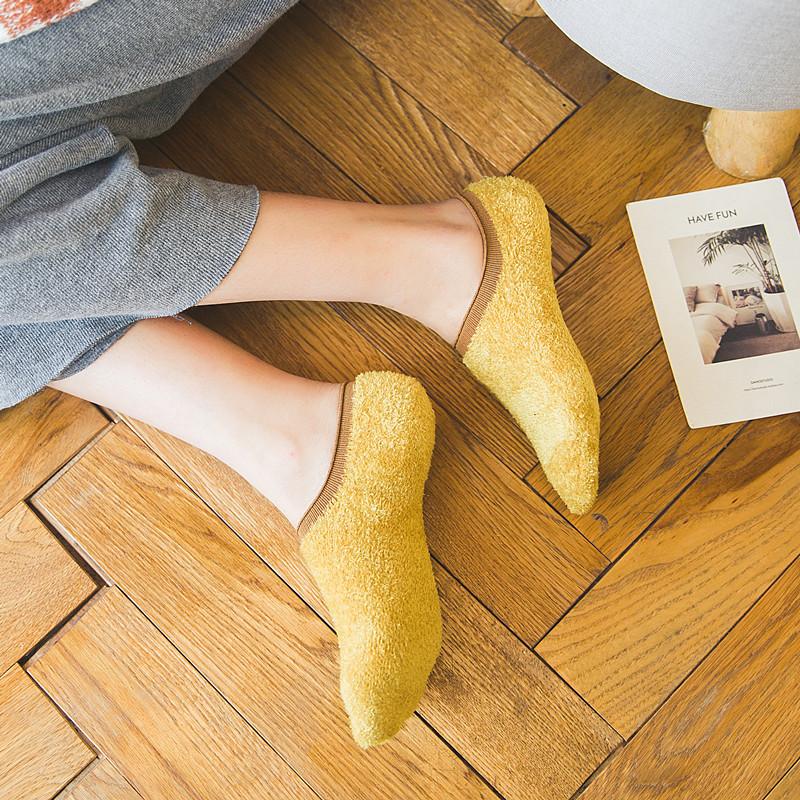 船袜女厚款加绒袜子秋冬珊瑚绒羽毛纱加厚毛巾袜短袜地板发热袜隐