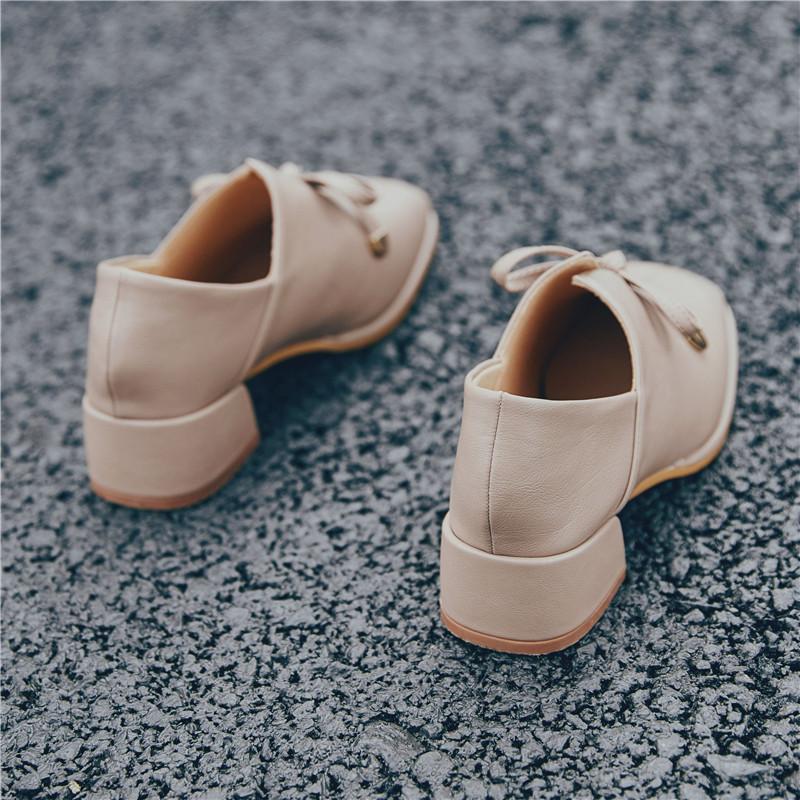 软妹中跟蝴蝶结深口高跟单鞋女潮英伦风ins小皮鞋女复古方头女鞋