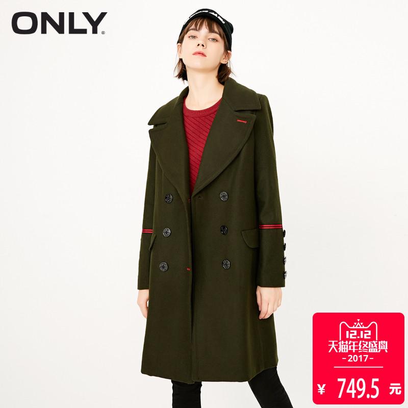 【聚满800-80】ONLY冬新军绿色双排扣呢子羊毛大衣女|11734S517
