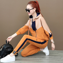 Sports Suit Female Spring and Autumn 2019 New Fashion Loose Sanitary Clothes with Fleece and Thickening Leisure Clothes Two Suits for Autumn and Winter
