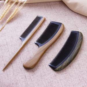 Dense tooth wide tooth horn comb green sandalwood massage comb wooden comb antistatic makeup comb hair straight hair curly comb