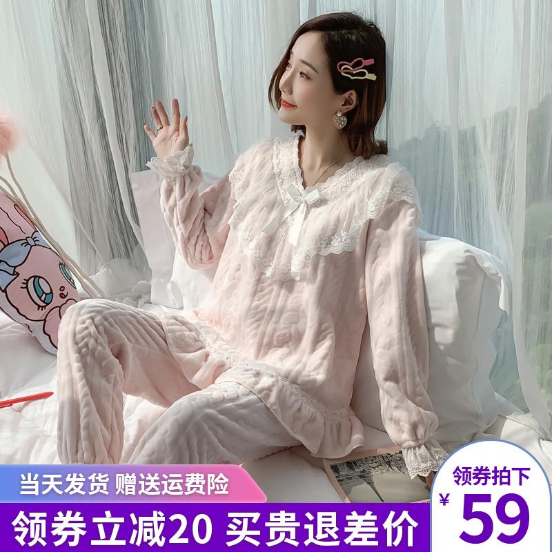 珊瑚绒睡衣女秋冬款加厚加绒保暖甜美可爱公主韩版法兰绒套装冬季