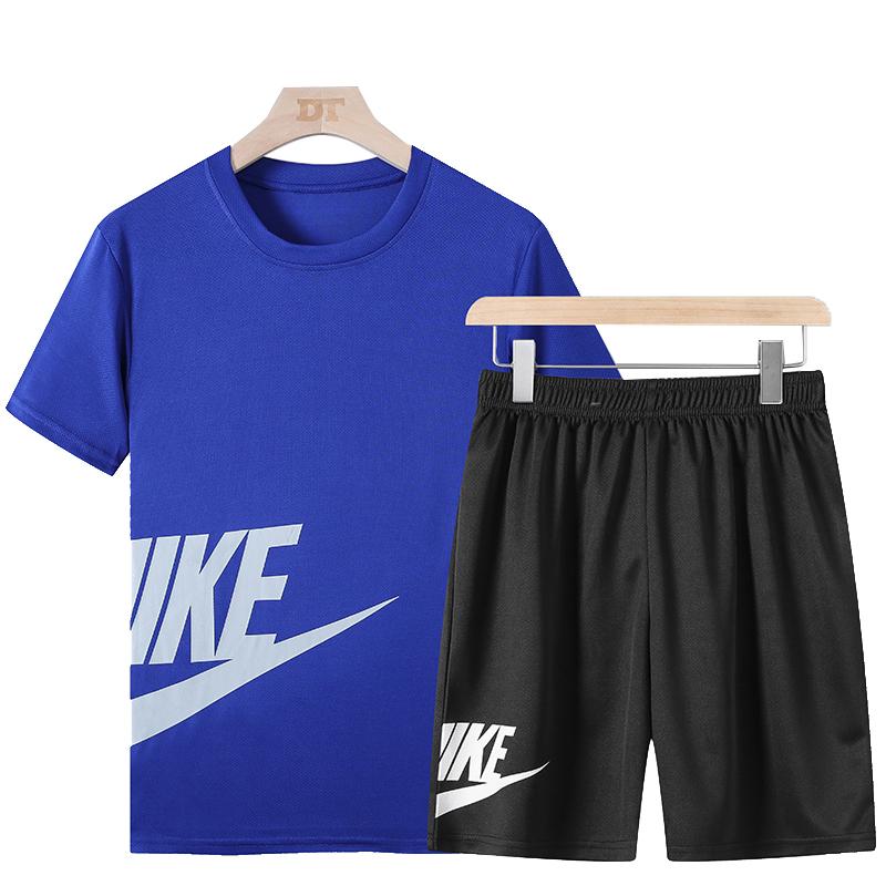 运动套装男夏季休闲运动服套装男速干两件套短袖短裤衣服潮流宽松
