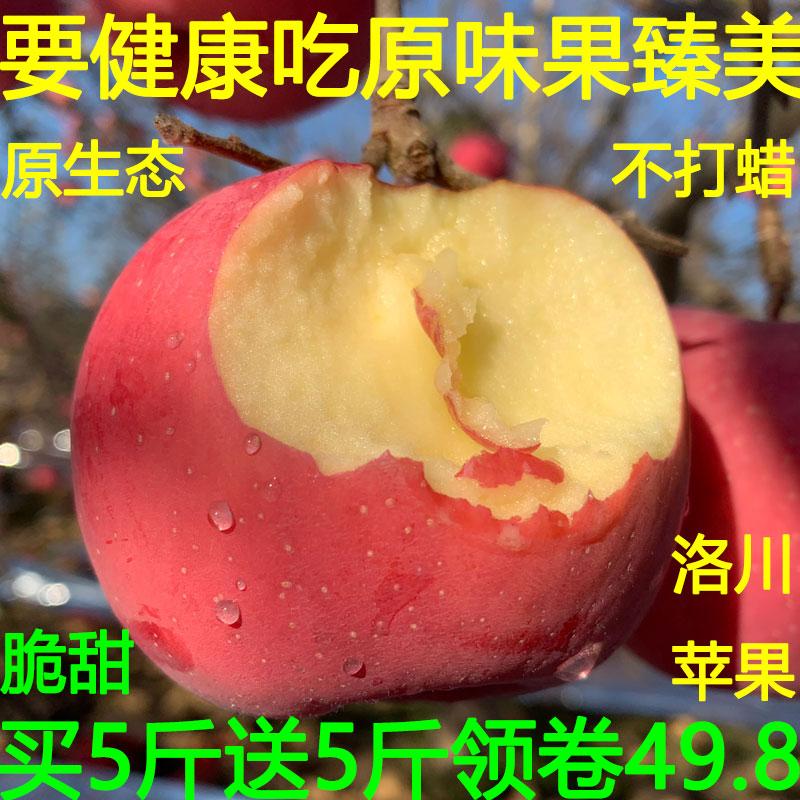 陕西洛川红富士新鲜苹果水果脆甜冰糖心应季丑蘋果一整箱10斤包邮
