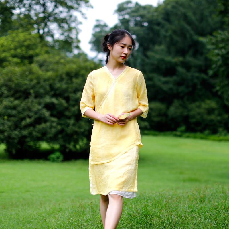 慢慢 原创 女装 新款 高密 苎麻 复古 连衣裙