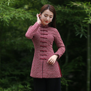 Winter Chinese women's clothing Chinese New Year Tang suit red cotton jacket cotton buckle cotton cheongsam small jacket thick warm Chinese wind jacket
