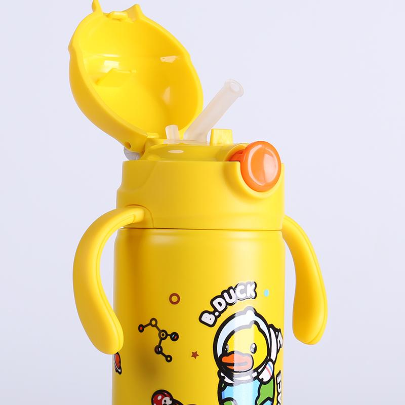 face儿童保温杯带吸管两用宝宝学饮杯幼儿园婴儿可爱小学生水杯子