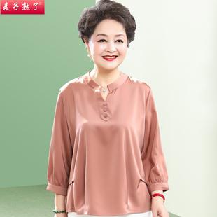 妈妈秋装新款洋气雪纺小衫两件套装短袖T恤上衣中老年人女装春夏图片