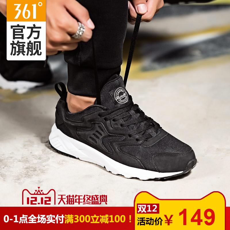 361男鞋运动鞋冬季男子跑步鞋361度女鞋复古跑鞋黑色休闲阿甘鞋女