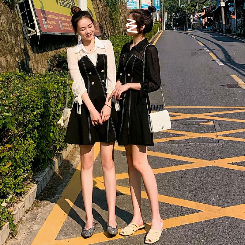 裙子女早秋款仙女超仙甜美收腰显瘦雪纺拼接A字连衣裙秋季