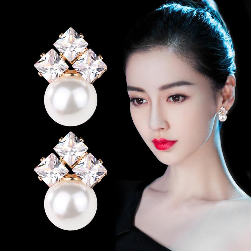 高级感珍珠耳钉2019新款潮耳环女纯银气质简约网红耳饰品法式耳坠