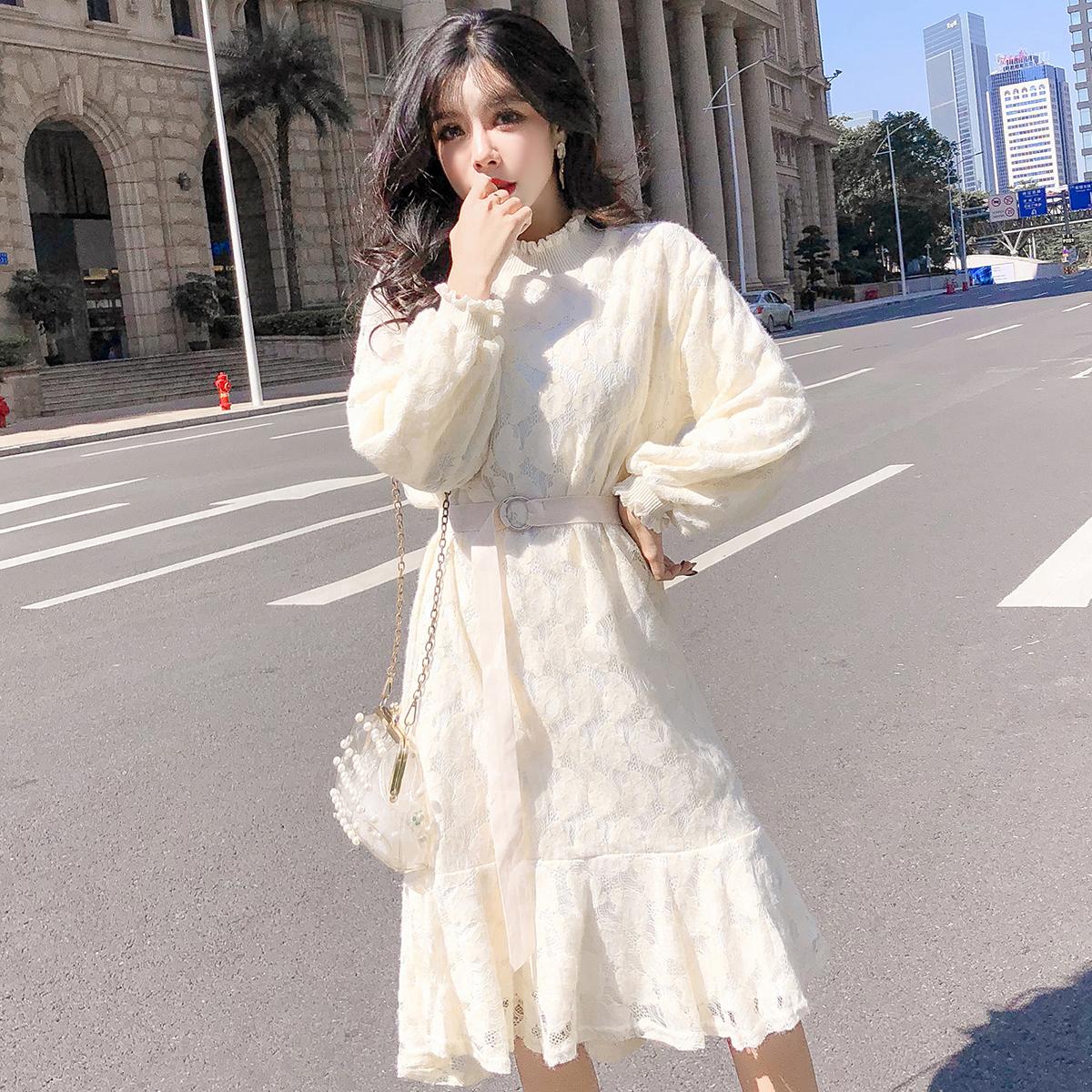 实拍现货蕾丝网红连衣裙秋冬长袖仙女装内搭打底裙子抓绒加厚 -