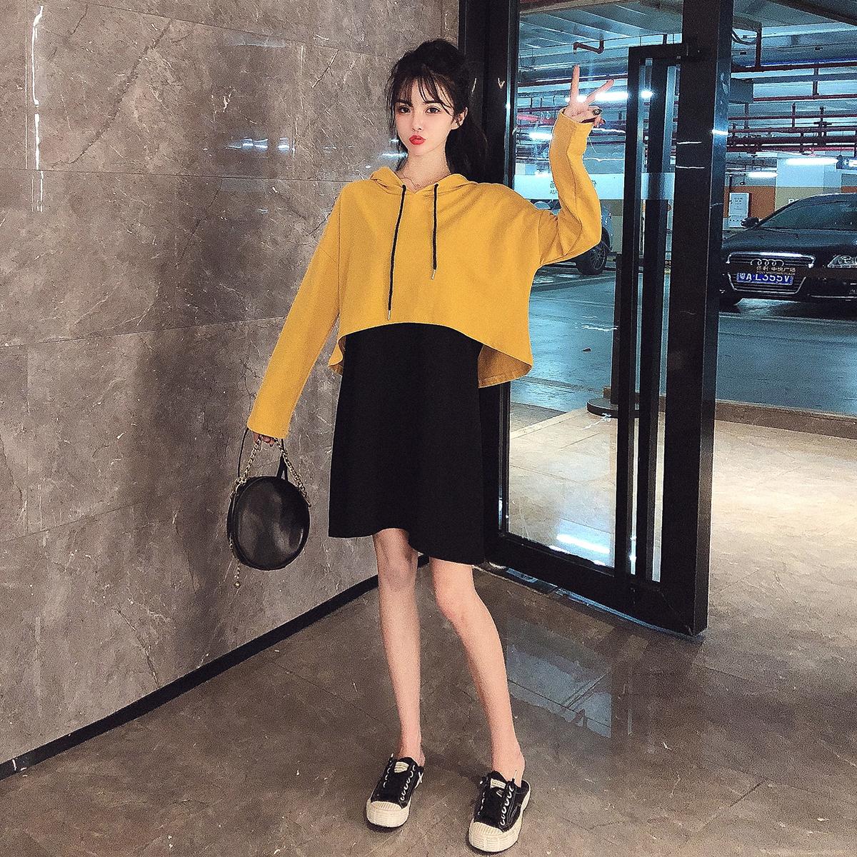 6497实拍现货新款抽绳连帽长袖休闲卫衣+黑色连衣裙时尚两件套装 -