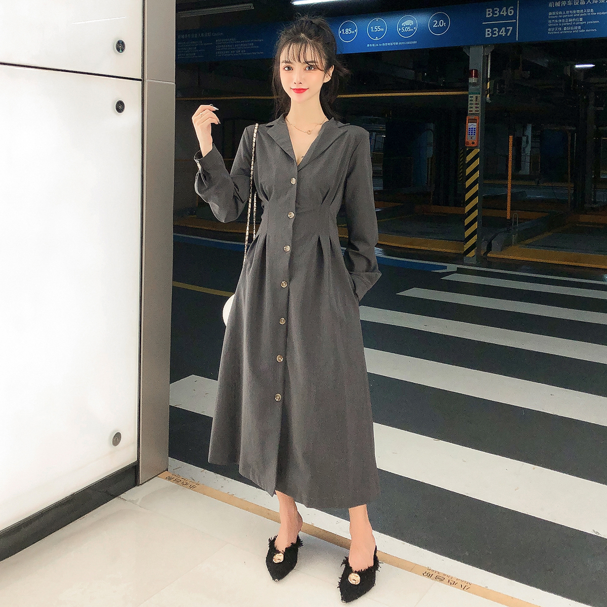 6546实拍现货新款韩版法式复古裙中长款高腰长袖连衣裙气质连衣裙 -