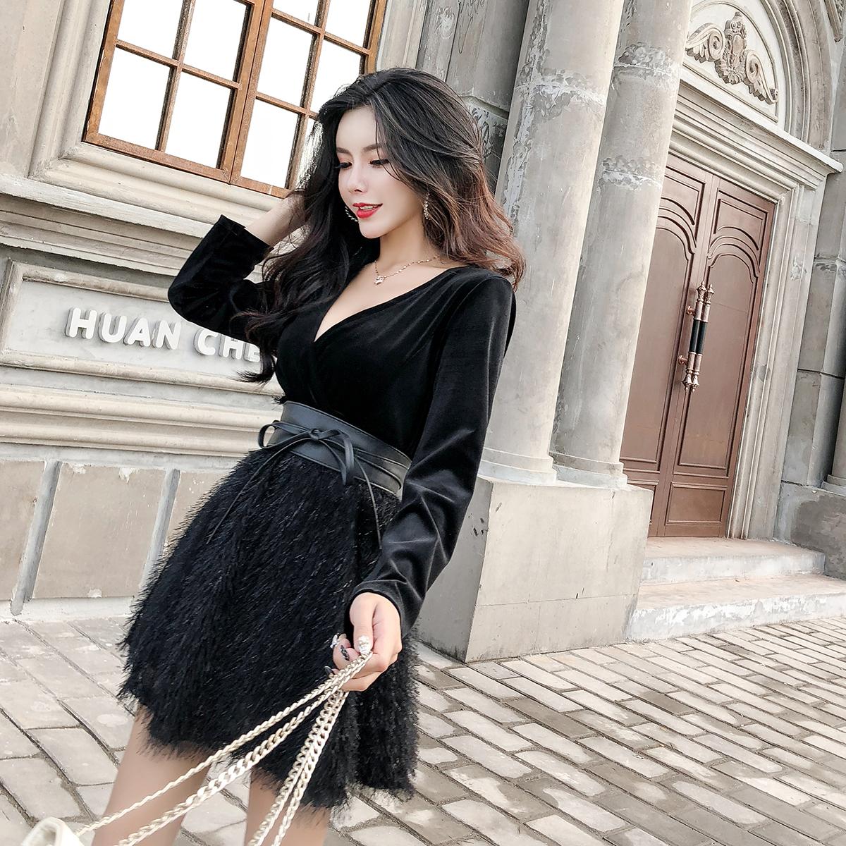 实拍现货名媛网红打底裙冬假两件高冷范女装气质性感连衣裙子 -