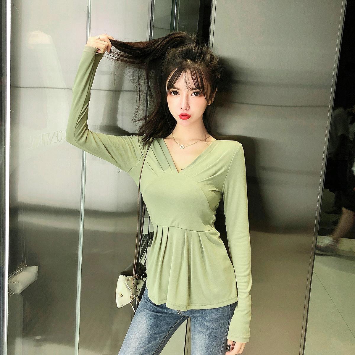 6470实拍现货早秋新款韩版V领拼接剪裁修身长袖T恤打底衫上衣女 -