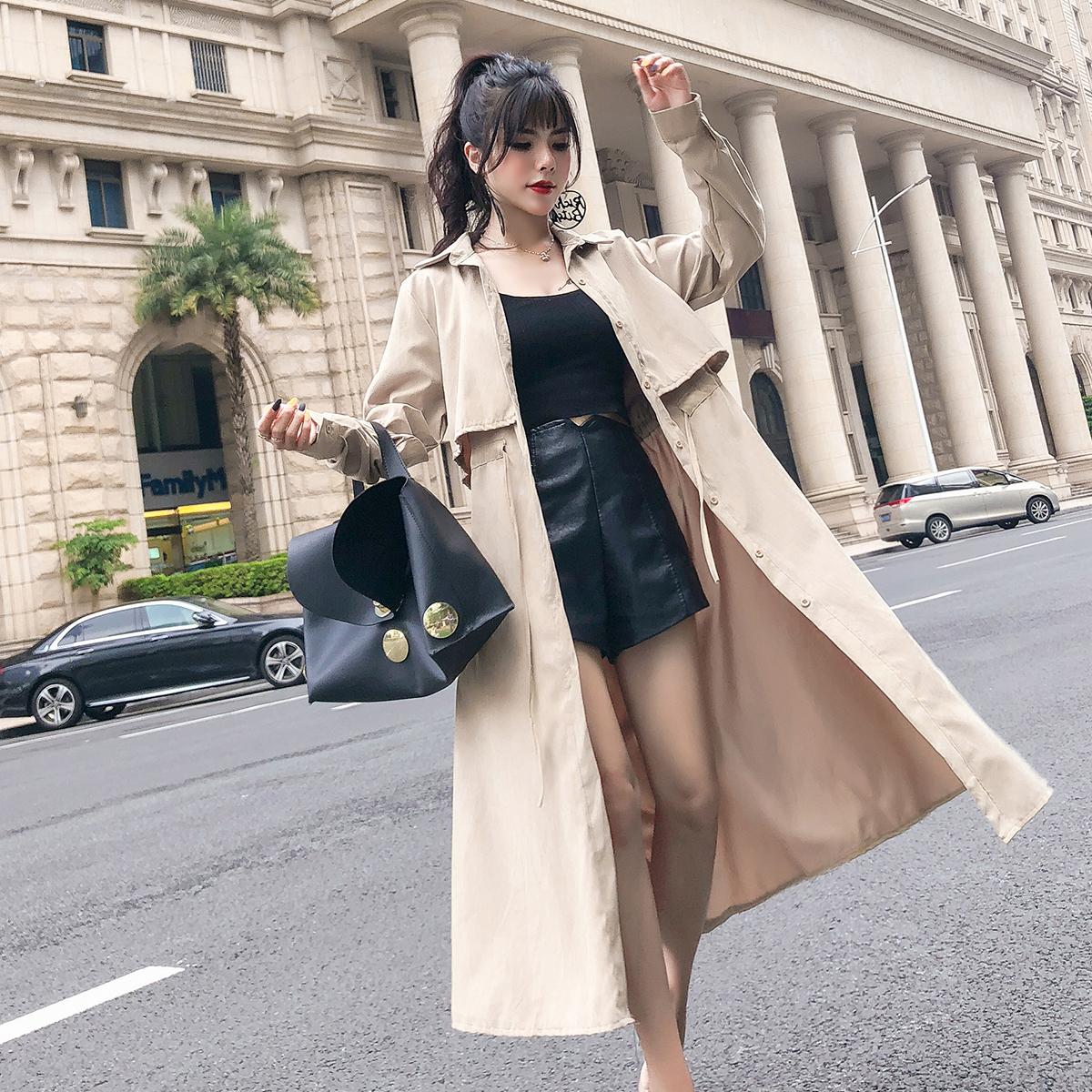 实拍现货早秋新品秋新款韩版收腰两穿风衣外套时尚连衣裙 -