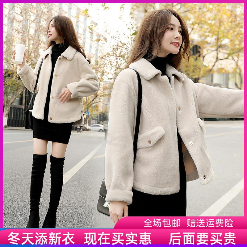 颗粒绒2019冬季新款加厚韩版女士短皮毛一体xs小个子羊羔毛外套女