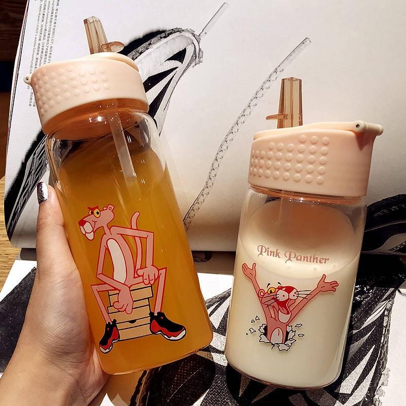 韩版创意玻璃杯女男成人吸管杯便携学生儿童水杯子潮流可爱随手杯1元无条件券