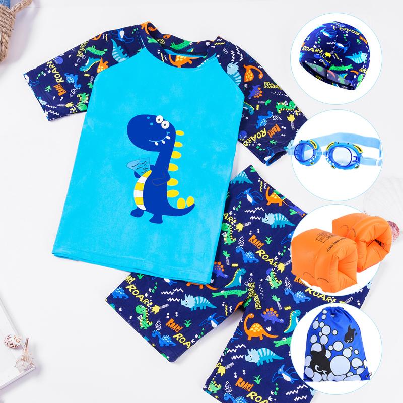 儿童泳衣男童泳裤分体套装宝宝中大童男孩泳装小童卡通恐龙游泳衣