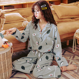 Long-sleeved cotton pajamas autumn female Korean loose large size autumn and winter students two-piece suit cardigan home service spring and autumn