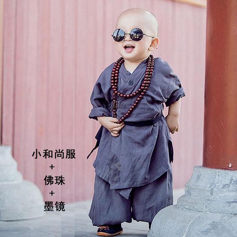 小和尚衣服宝宝儿童僧袍男童少林寺武僧古装摄影表演服装春秋童装
