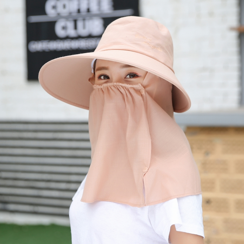百搭帽子女夏天遮脸防晒帽防紫外线口罩遮阳帽户外骑车出游太阳帽