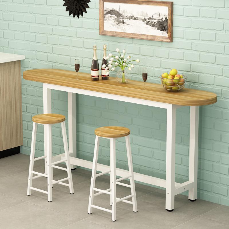 靠墙吧台桌家用客厅简约隔断简易小吧台圆角桌椅组合咖啡高脚桌